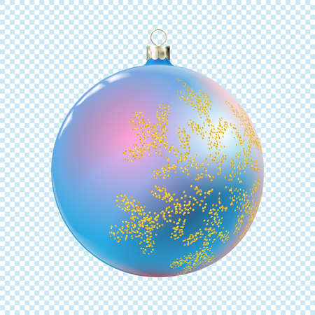 Christmas ball light blue or cyan color, bauble isolated on white background, 3d. Realistic Merry xmas and New year design element, colorful decoration. Vector illustration Eps 10.