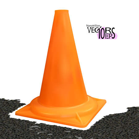Realistic traffic cone orange color isolated on white background. Safety vertical object 3d. Vector illustration Eps 10. Foto de archivo - 159286715