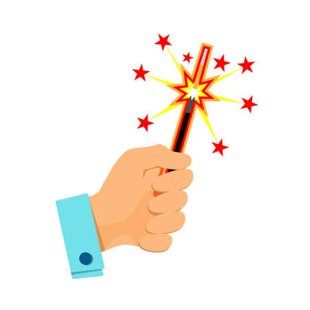 Burning sparkler in hand, flat icon. Christmas bengal light isolated on white background. New year celebration symbol. Birthday party, festive glittering design element. Vector illustration Eps 10. Foto de archivo - 159338287