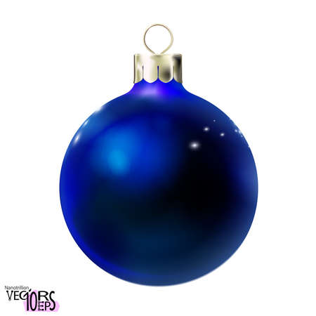 Christmas ball dark blue color, glossy mockup realistic 3d bauble isolated on white background. Toy Merry xmas and New year design element, colorful decoration. Vector illustration Eps 10.