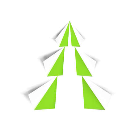 Cut out of paper Christmas tree green and white color isolated on white background. Realistic icon, sign for design holiday cards. Modern abstract art on xmas. Glossy element, vector illustration.