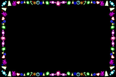 Neon frame for Christmas and New Year. Multi-colored shining illumination isolated on black background. Fluorescent Colorful abstract glowing xmas symbols. Disco night, party. Vector illustration.