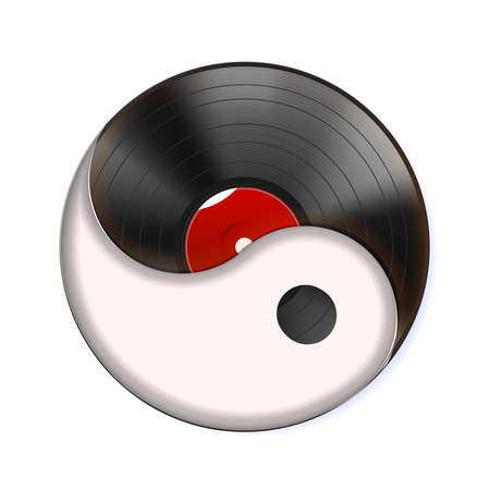 Yin yang symbol and vinyl record, icon. Vintage, spiritual relaxation for dj paty. Realistic object isolated on white background. Highly detailed.