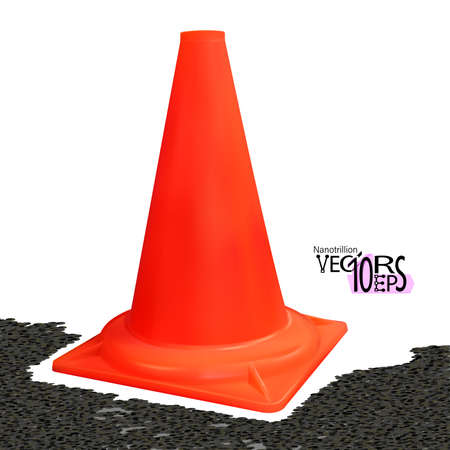 Realistic traffic cone red color isolated on white background. Safety vertical object 3d. Vector illustration Eps 10.