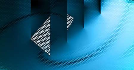 Dark blue perforated background with hexs. Abstract Technology backdrop geometric textured hexagons, modern cover design. Ad banner minimal composition with hex shapes.
