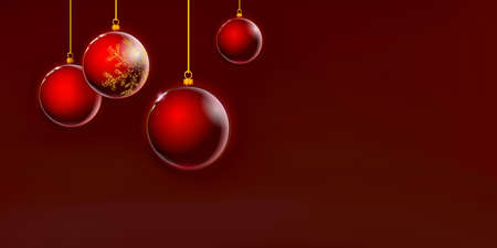 Red Christmas balls background, dark crimson Xmas glass colorful decoration. Art 3D. Happy New Year Holiday. Golden sparkle. Vector illustration Eps 10. Vectores
