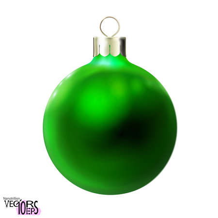 Green Christmas ball, glossy realistic bauble isolated on white background. Merry xmas and New year 3d toy, design dark element, colorful decoration. Vector illustration Eps 10.