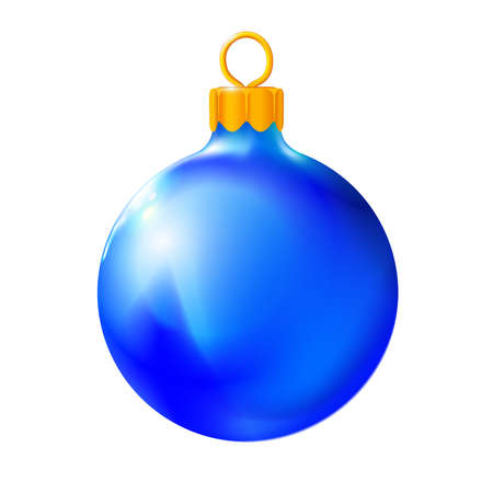 Blue Christmas ball, bauble isolated on white background, 3d. Realistic Merry xmas and New year design element, colorful decoration. Vector illustration Eps 10.