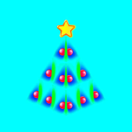Pretty Christmas tree made of blue, green speck and yellow star. Design for holiday cards on blue background. Modern abstract xmas, new year. Vector illustration eps10. Vectores