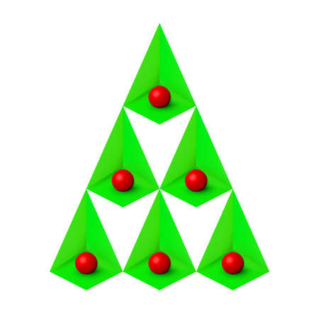 Green christmas tree, isometric minimal concept isolated on white. Geometric abstract corners elements and red balls. Merry xmas holiday, new year 3d decoration composition. Vector illustration Vectores