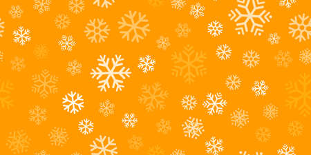 White snowflakes seamless pattern, orange background. Flying snow. Winter abstract Christmas and new year backdrop. Vector illustration