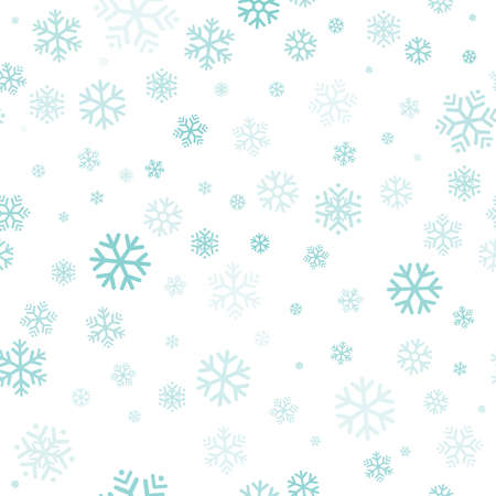 Turquoise snowflakes seamless pattern, white background. Flying snow. Winter abstract Christmas and new year backdrop. Vector illustration