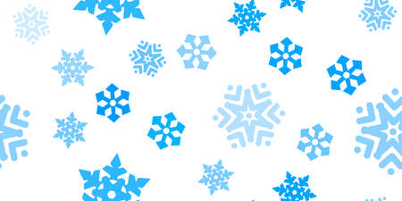 Blue snowflakes seamless pattern, white background. Flying snow. Winter abstract Christmas and new year backdrop. Vector illustration Eps 10. Vectores