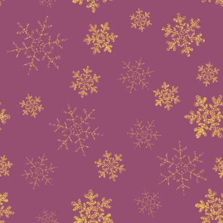 Yellow, gold snowflakes seamless pattern, purple background. Flying snow. Winter abstract Christmas and new year backdrop. Vector illustration Eps 10. Foto de archivo