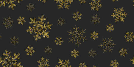 Yellow, gold snowflakes seamless pattern, black background. Flying snow. Winter abstract Christmas and new year backdrop. Foto de archivo