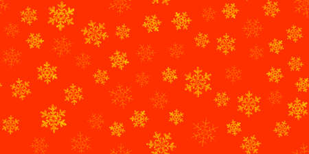 Yellow, gold snowflakes seamless pattern, red background. Flying snow. Winter abstract Christmas and new year backdrop.