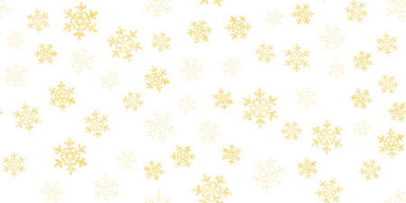 Yellow, gold snowflakes seamless pattern, white background. Flying snow. Winter abstract Christmas and new year backdrop.