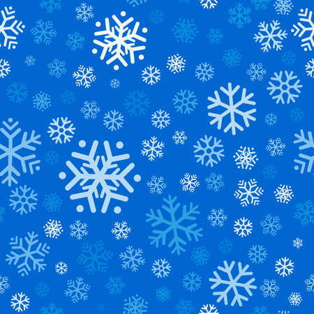 Flying snowflakes, snow seamless pattern on light blue background. Winter abstract on blue sky. Christmas and new year backdrop. Vector illustration