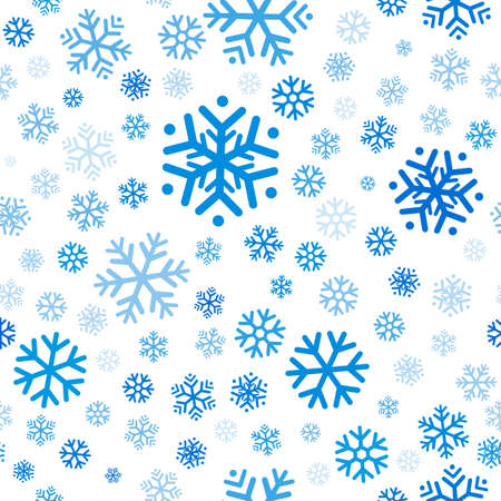 Flying blue snowflakes, snow seamless pattern on white background. Winter abstract on blue sky. Christmas and new year backdrop. Vector illustration Vectores