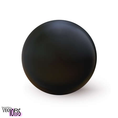 Realistic black sphere matte or glossy, orb 3d mockup blank icon. Abstract symbol. Template for design and branding. Vector illustration Eps 10.