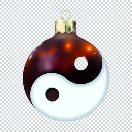 Asian New Year concept, Yin yang Dark Red Christmas ball, icon isolated. Spiritual relaxation of modern yoga meditation. 3d toy Merry xmas. Chinese, Japan, Korean. Vector illustration Eps 10. Vectores