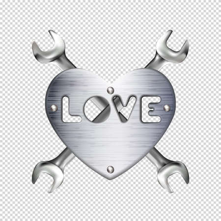 Crosshairs of realistic hand wrench or spanner and metal heart with caption love, isolated on transparent background. Chrome metal tool. Plate with rivets. Valentines day sign. Foto de archivo