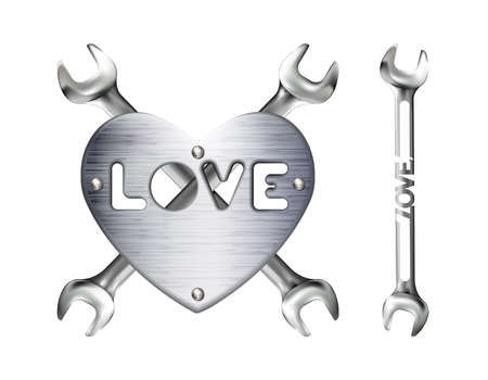 Crosshairs of realistic hand wrench or spanner and metal heart with caption love, isolated on white background. Chrome metal tool. Plate with rivets. Valentines day sign.
