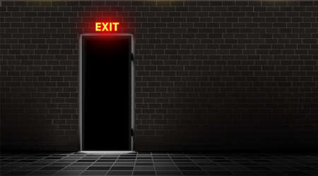 Brick wall and door with neon exit lamp, dark background. Realistic light silhouette slit doorway. Abstract room with text indicator. Floor is tiled. Tile. Vector illustration