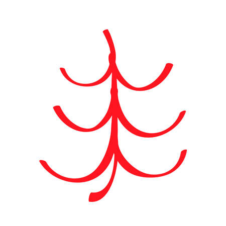 Red curved christmas tree icon, sign isolated on white background. Symbol for xmas or New Year decoration. Fir-tree simple. Vector illustration