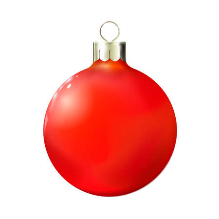 Christmas Red ball isolated on white, bauble 3d realistic. Merry xmas and New year design element, bright decoration. Vector illustration Eps 10. Vectores