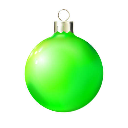 Christmas green ball isolated on white, bauble 3d realistic. Merry xmas and New year design element, bright decoration. Vector illustration Eps 10.