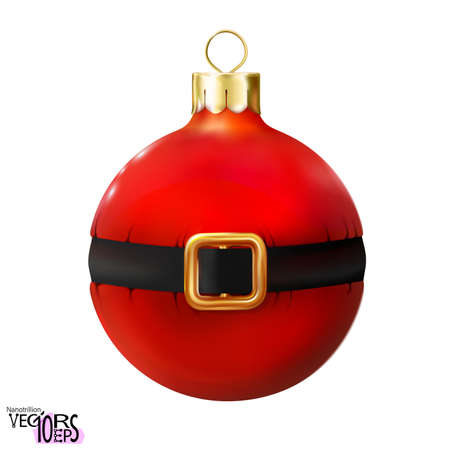 Red Christmas ball decorated Santa Claus belt, glossy mockup realistic bauble isolated on white background. 3d toy Merry xmas, New year design element, colorful decoration. Vector illustration Eps 10.