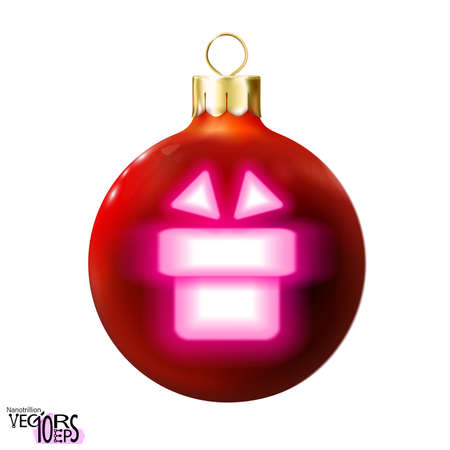 Red Christmas ball decorated gift, pink neon lamp, isolated on white. Holiday shape icon, glossy realistic bauble. Merry xmas, New year design decoration. 3d Modern fluorescent. Vector illustration Eps 10.