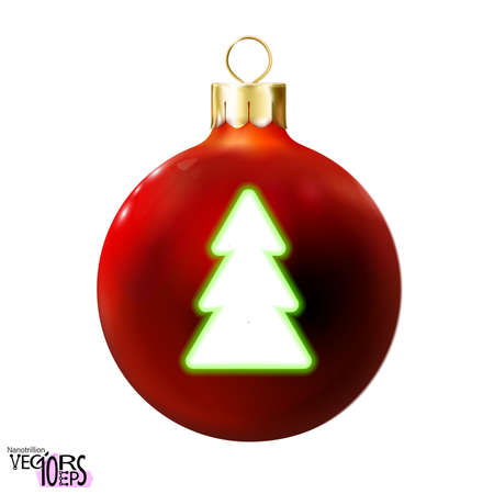 Red Christmas ball decorated green fir-tree, glossy neon realistic icon, bauble isolated on white. 3d toy Merry xmas tree, New year design decoration. Modern fluorescent. Vector illustration Eps 10. Vectores