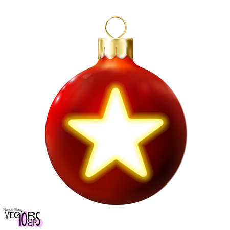 Red Christmas ball decorated yellow, golden star isolated on white. Glossy realistic bauble. 3d toy Merry xmas, New year design decoration. Modern fluorescent. Vector illustration Vectores