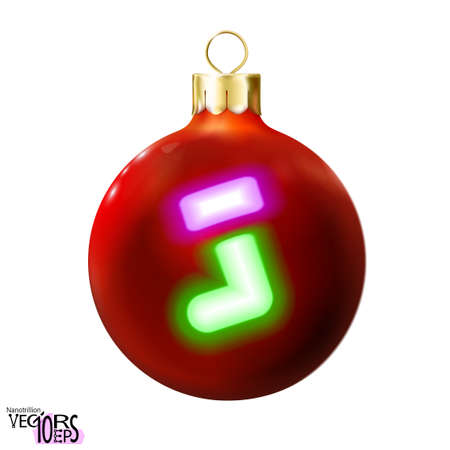 Red Christmas ball decorated green gift christmas sock, neon lamp, isolated on white. Icon, glossy realistic bauble. Xmas, New year design decoration. Modern fluorescent. Vector illustration