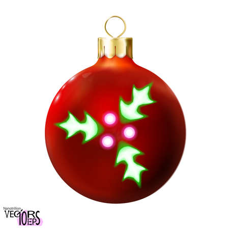 Red Christmas ball decorated green holly leafs, neon lamp, isolated on white. Icon, glossy realistic bauble. Xmas, New year design decoration. Modern fluorescent. Vector illustration