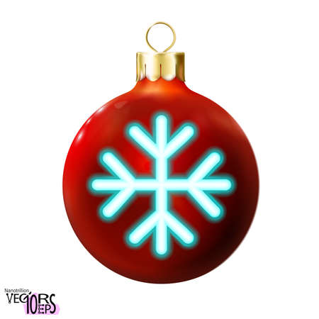 Red Christmas ball decorated blue snowflake neon lamp. Holiday icon isolated on white, glossy realistic bauble. Merry xmas, New year design decoration. Modern fluorescent. Vector illustration