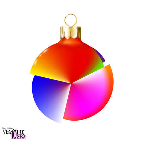 Unusual colorful Christmas tree toy, ball isolated on white background. Glossy mockup realistic bauble. Vectores
