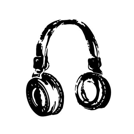 Black sketch or engraving, hand drawn headphones isolated on white background. Design for music decor, dj equipment, youth hobbies and entertainment. Vector illustration Eps 10.
