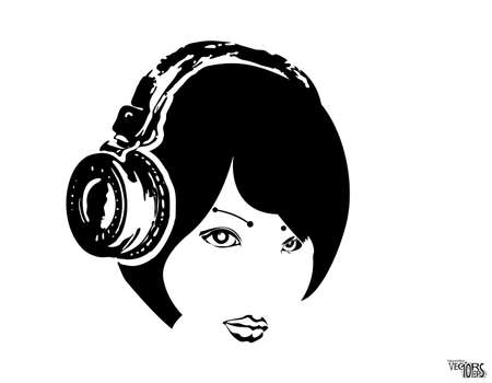 Girl face in headphones, sketch, beauty portrait. Black icon, beautiful engraving hand drawn isolated on white background. Design for music decor, dj equipment, youth hobbies and entertainment. Vector illustration