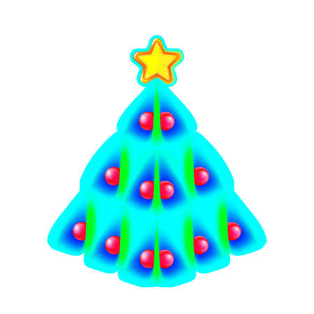 Pretty Christmas tree made of blue, green speck and yellow star. Design for holiday on blue.