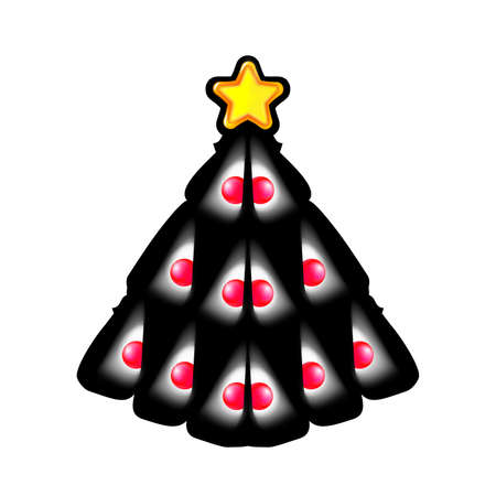 Pretty Christmas tree made of white speck and yellow star. Design for holiday on black.