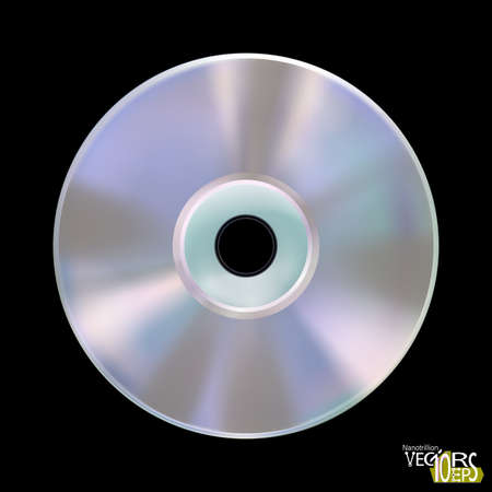 Realistic compact disk or laser disc, isolated on black background. CD mockup. Information carrier. Media technology. Musical album.