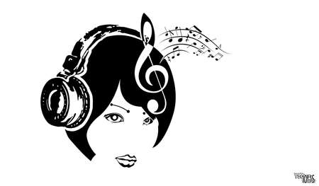 Girl face in headphone and musical notes, sketch. Black portrait icon, beautiful engraving hand drawn isolated on white.