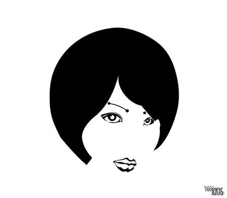 Young girl face sketch, beauty portrait. Black icon, pretty female face. Beautiful engraving hand drawn isolated on white background. Vectores