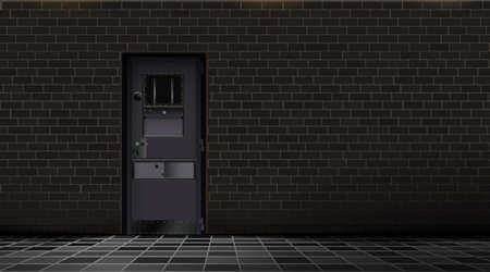 Prison interior, metal door and brick wall, dark background. Jail cell room. Concept design for quest and escape games. Happy deprivation freedom. Black detention center. Vector Illustration Eps 10.
