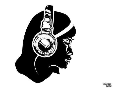Girl face in headphone, sketch, beauty portrait. Black icon, beautiful engraving hand drawn isolated on white background. Design for music decor, dj, youth hobbies. Vector illustration Vectores