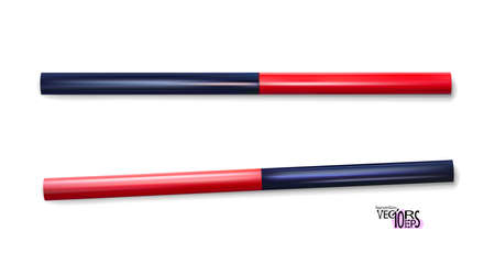 Construction pencil, two tone red, blue. Carpenter pencils set. Realistic tool isolated on white background for marking. Supplies, stationery. Vector illustration