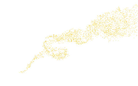 Wavy strip sprinkled with crumbs golden horizontal texture. Background Gold dust on a white background. Sand particles grain or sand. Vector backdrop golden path pieces grunge for design illustration.